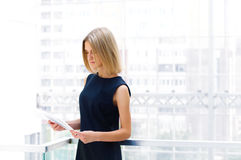 Business woman holding reports Royalty Free Stock Photo