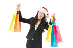 Business woman holding shopping bags with gifts Royalty Free Stock Photos