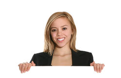 Business Woman Holding Sign Royalty Free Stock Photos