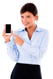 Business woman holding smart phone Royalty Free Stock Photos