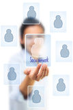 Business woman holding social network icon Stock Photo