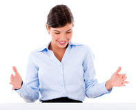 Business woman holding something Stock Images