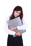 Business woman holding stack of folders documents Stock Photography