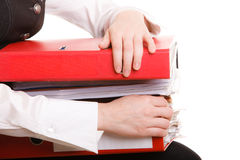 Business woman holding stack of folders documents Royalty Free Stock Images