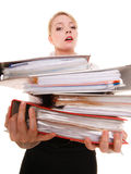 Business woman holding stack of folders documents Stock Image