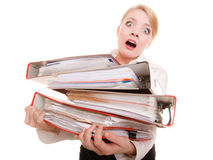 Business woman holding stack of folders documents Royalty Free Stock Photo