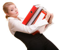 Business woman holding stack of folders documents Stock Photo