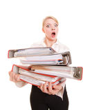 Business woman holding stack of folders documents Royalty Free Stock Photography