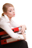 Business woman holding stack of folders documents Royalty Free Stock Photos