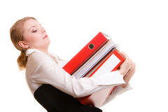 Business woman holding stack of folders documents Royalty Free Stock Image