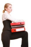 Business woman holding stack of folders documents Stock Photos