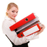 Business woman holding stack of folders documents Stock Images