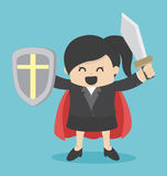 Business Woman holding sword Royalty Free Stock Image