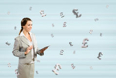 Business woman holding a tablet Royalty Free Stock Images