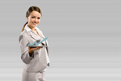 Business woman holding a tablet Stock Images