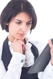 Business woman holding tablet computer Stock Photos