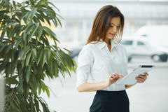 Business Woman Holding a Tablet Computer. Royalty Free Stock Photos