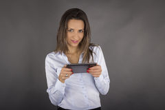 Business woman holding tablet computer Royalty Free Stock Images