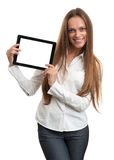 Business woman holding a tablet computer Royalty Free Stock Images