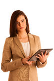 Business woman holding a tablet computer - isolated over a white Stock Photography