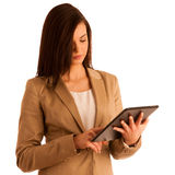 Business woman holding a tablet computer - isolated over a white Stock Images