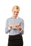 Business woman holding tablet computer isolated Royalty Free Stock Image