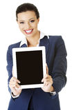 Business woman holding tablet PC with touch pad. Royalty Free Stock Photo