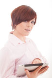 Business woman holding tablet with touchpad. Stock Image