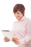 Business woman holding tablet with touchpad. Royalty Free Stock Images