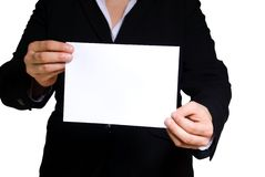 Business woman holding banner with copyspace Royalty Free Stock Images