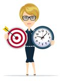 Business woman holding target and time clock Stock Photo