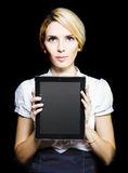 Business woman holding touchpad tablet Royalty Free Stock Photos
