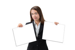 Business woman holding two banner isolated. Asian Business woman holding two banner two hands isolated on white background. Alternative, Choice, Yes 0r No Royalty Free Stock Photography