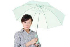 Business woman holding umbrella Royalty Free Stock Photo