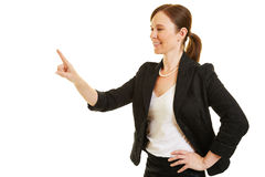 Business woman holding up index finger Stock Images