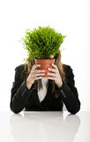 Business Woman holding a vase with a plant Royalty Free Stock Photo