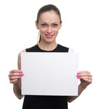 Business woman holding white blank card. Royalty Free Stock Photo