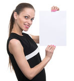 Business woman holding white blank card. Royalty Free Stock Image