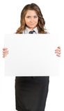 Business woman holding white blank poster Stock Photos