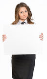 Business woman holding white blank poster Stock Image