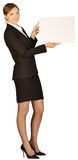 Business woman holding white board Royalty Free Stock Images