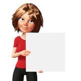 Business woman holding a white board. Royalty Free Stock Photos