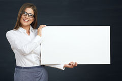 Business woman holding white board show teeth with smile. Stock Photos