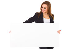 Business woman holding white sign. Stock Photography