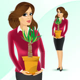 Business woman holding yucca plant. Smiling business woman holding yucca plant in a pot isolated on white background vector illustration