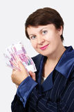 The business woman holds banknotes Stock Image