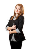 Business woman holds clipboard Stock Image
