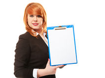 Business woman holds clipboard with empty blank. Isolated Royalty Free Stock Photography
