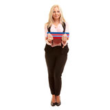 The Business Woman holds colorful folders Stock Photography