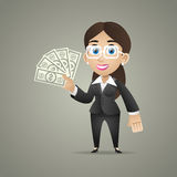 Business woman holds dollar notes in hand Royalty Free Stock Photo